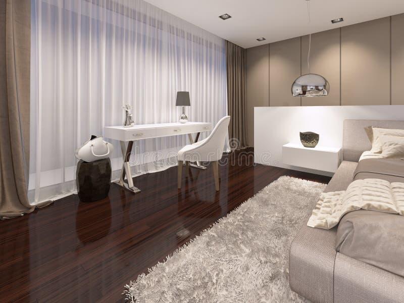 Tocador con un espejo del color blanco en el art déco del estilo del dormitorio ilustración del vector