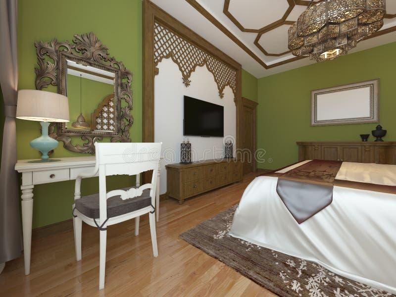 Tocador con un espejo en el dormitorio, diseño de Oriente Medio libre illustration