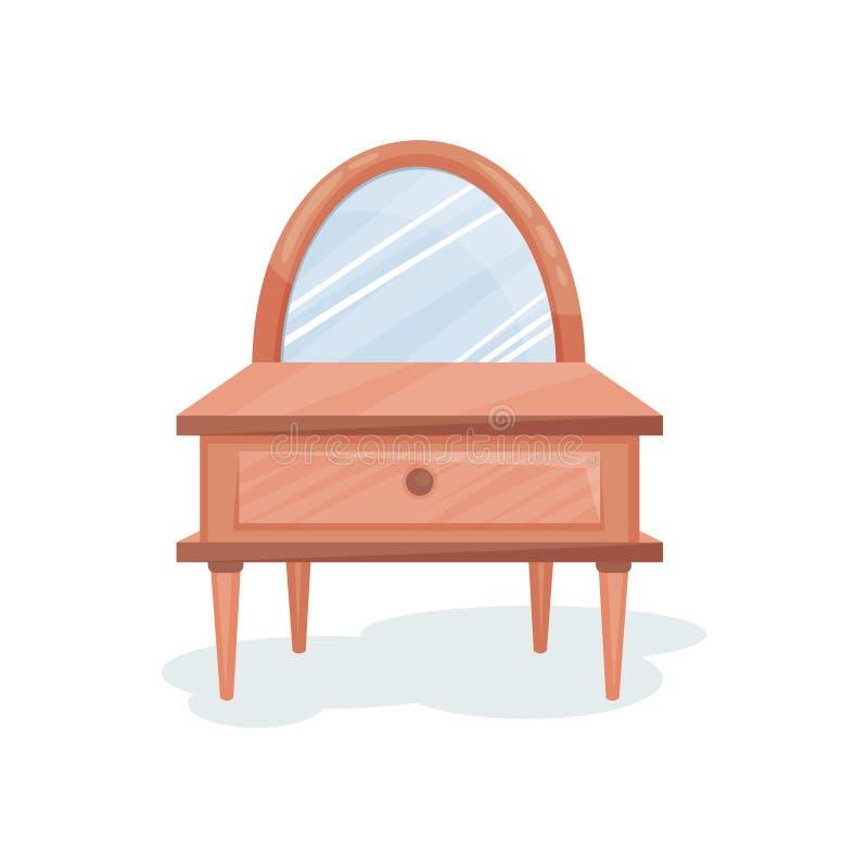 Tocador de madera con el espejo, ejemplo del vector del elemento del diseño interior en un fondo blanco libre illustration