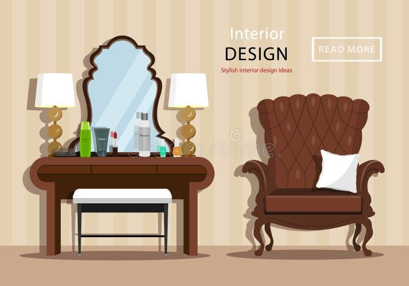 Tocador del vintage con el espejo y los cosméticos para una mujer, poca silla y butaca en interior de la casa Estilo plano stock de ilustración