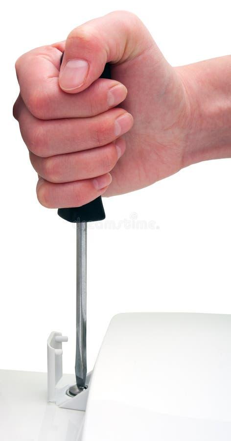 Tocador femenino del destornillador de la mano aislado en blanco foto de archivo libre de regalías