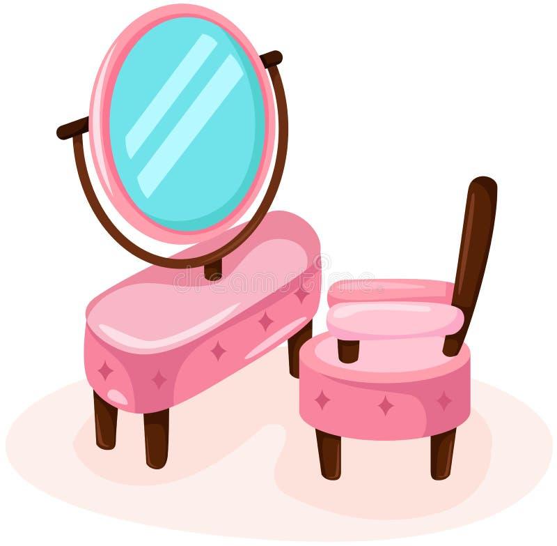 Tocador lindo con la silla ilustración del vector