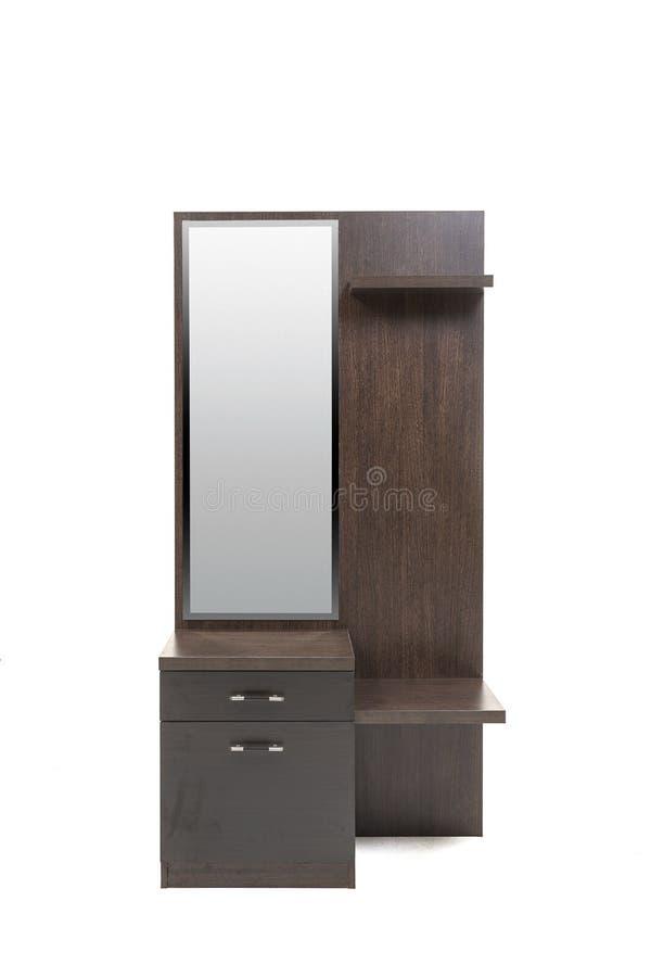 Tocador marrón del marrón oscuro conveniente para un dormitorio moderno sin un ottomon fotografía de archivo libre de regalías