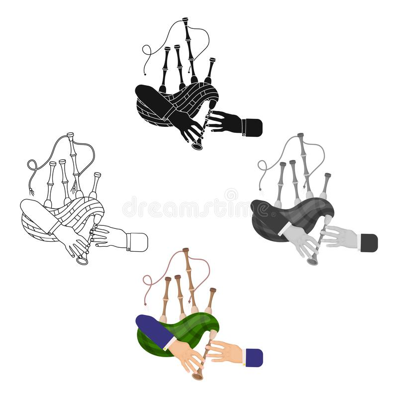 Tocar el instrumento nacional escocés de la gaita Los instrumentoes de viento de la gaita escogen el icono en símbolo del vector  stock de ilustración