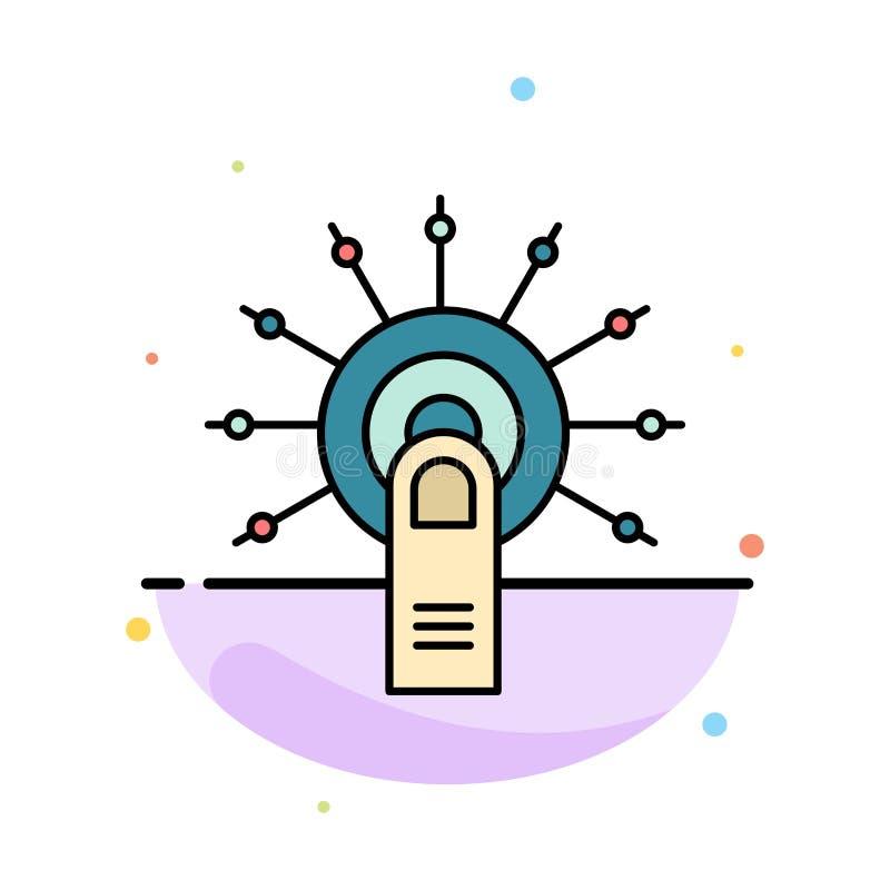 Tocchi, clicchi, approvi, fatto, tocchi qui il modello piano astratto dell'icona di colore illustrazione di stock