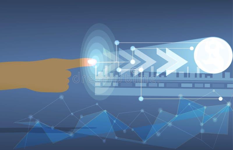 Tocchi la tecnologia futura di dati royalty illustrazione gratis