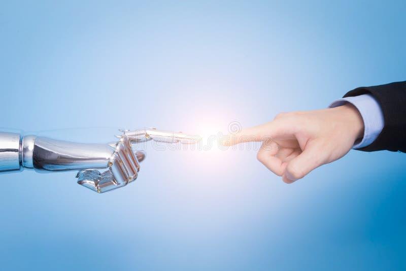 Tocco con la mano del robot fotografia stock libera da diritti