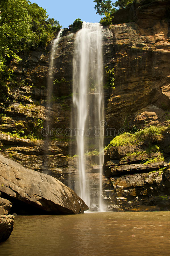 Toccoa Falls, Georgia. Toccoa Falls are located in the Toccoa College in Georgia, USA, which is a Christ-centered educational institution that prepares men and royalty free stock images