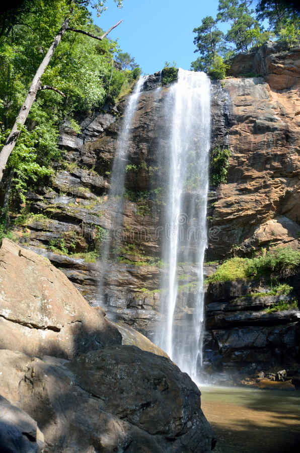 Toccoa Falls waterfall. The Toccoa Falls waterfalls on the campus of Toccoa Falls College in Stephens County, Georgia royalty free stock photos
