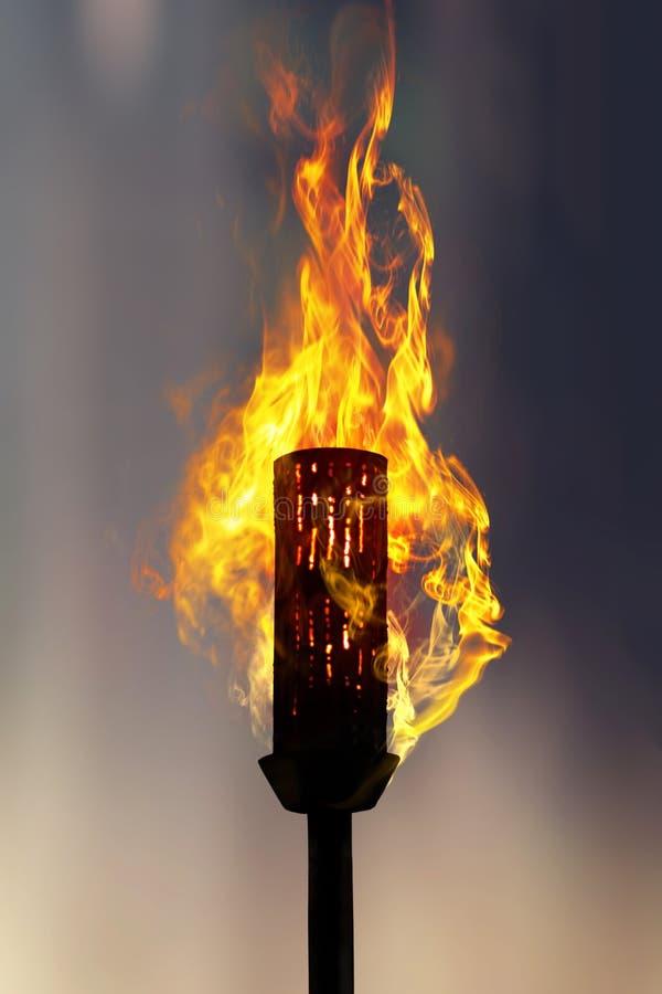 Tocha ardente na noite imagem de stock royalty free