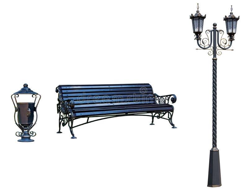 Tocha, banco e urn para o Parka, solares. imagens de stock