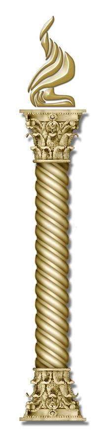 Tocha dourada da coluna ilustração stock