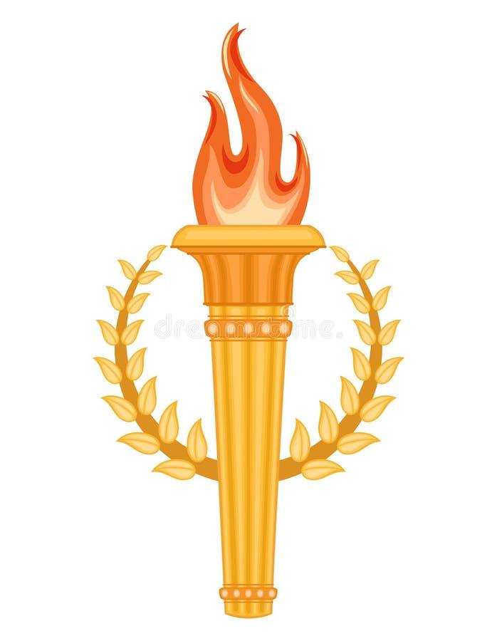 Tocha grega com a coroa dos louros ilustração do vetor