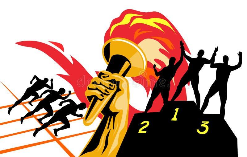 Tocha olímpica com corredores