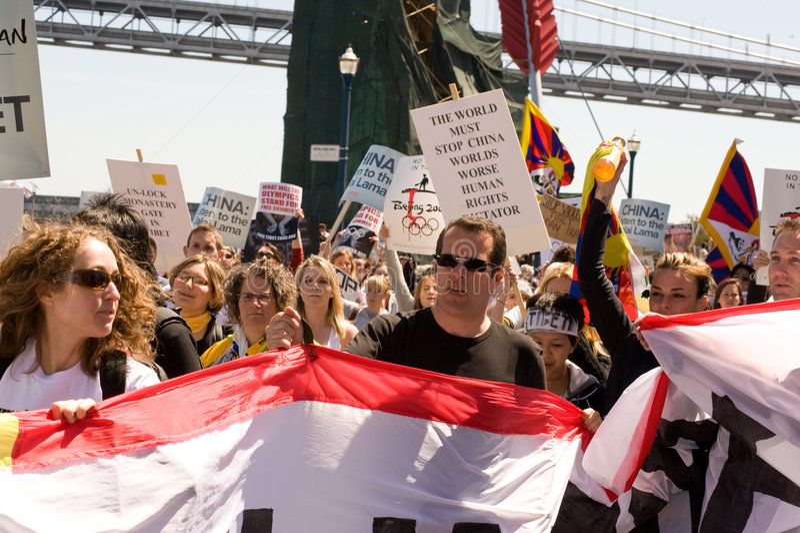 Tocha olímpica Protests_SF foto de stock