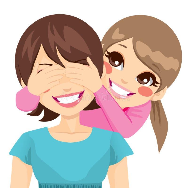 Tochter-Bedeckungs-Mutter-Augen lizenzfreie abbildung