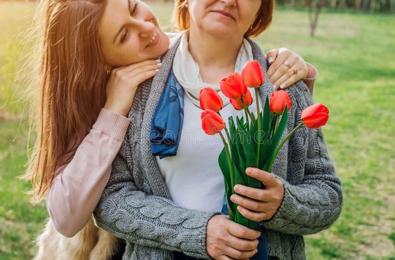 Tochter gibt ihr Muttertulpen Mutter ` s Tagesgeschenk stockfoto