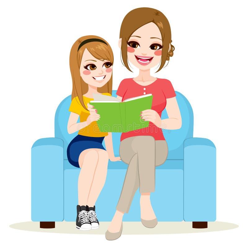 Tochter-und Mutter-sitzendes Sofa lizenzfreie abbildung
