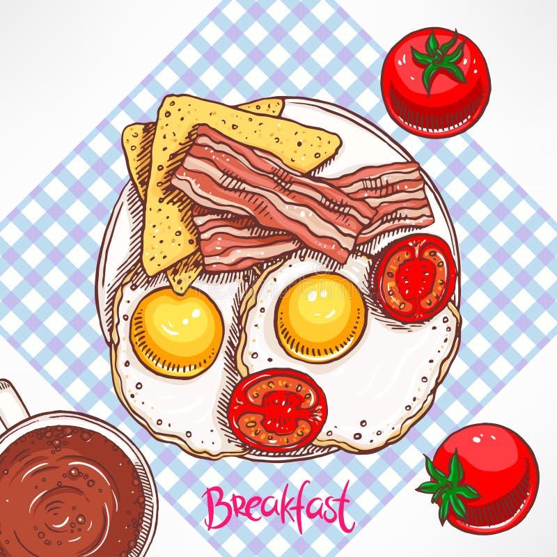 Tocino del desayuno, huevos revueltos y tomates ilustración del vector