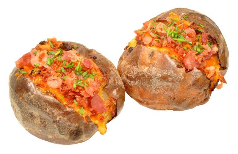Tocino y patata cocida llenada queso imagen de archivo