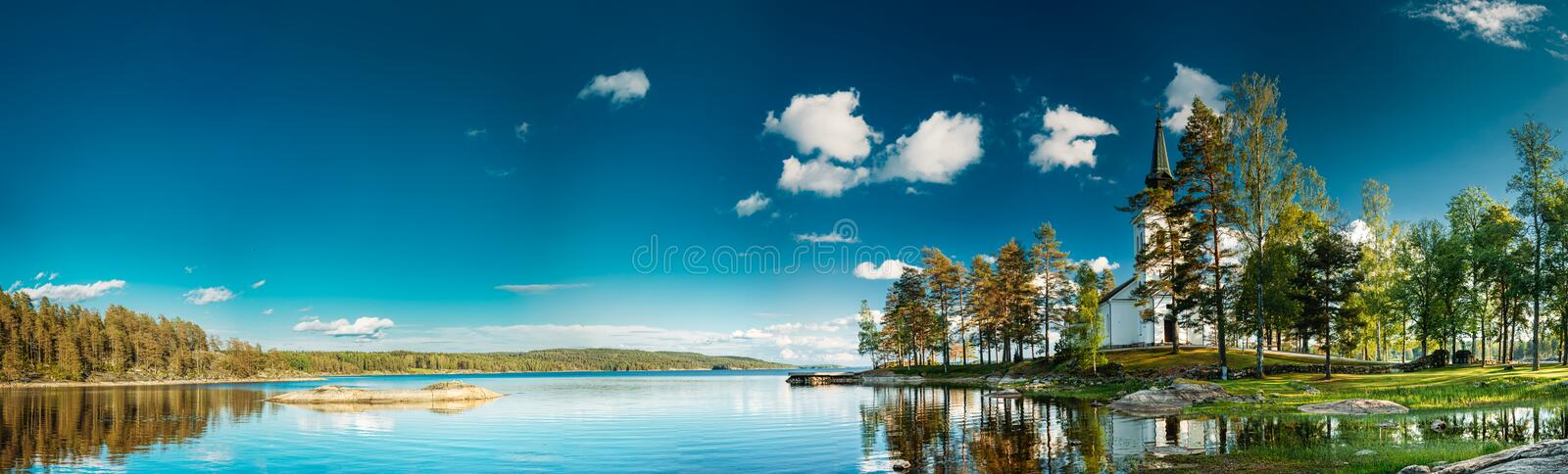 Tocksfors, Sweden. Stommen Church In Sunny Summer Day. Local Landmark.  stock photos