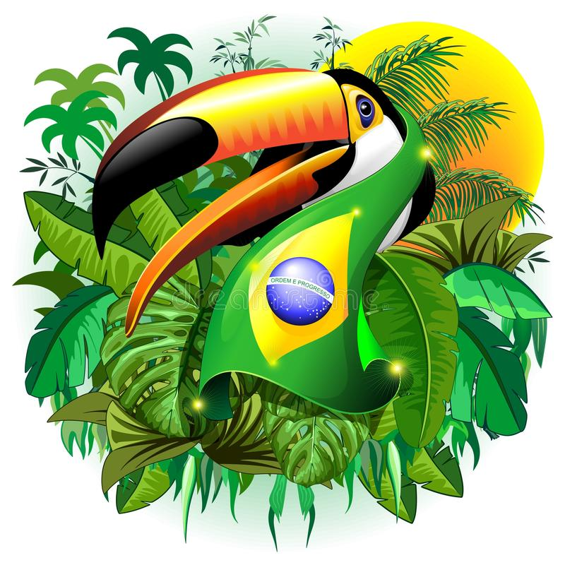 Toco Toucan med den Brasilien flaggahalsduken i djungelvektorillustrationen royaltyfri illustrationer