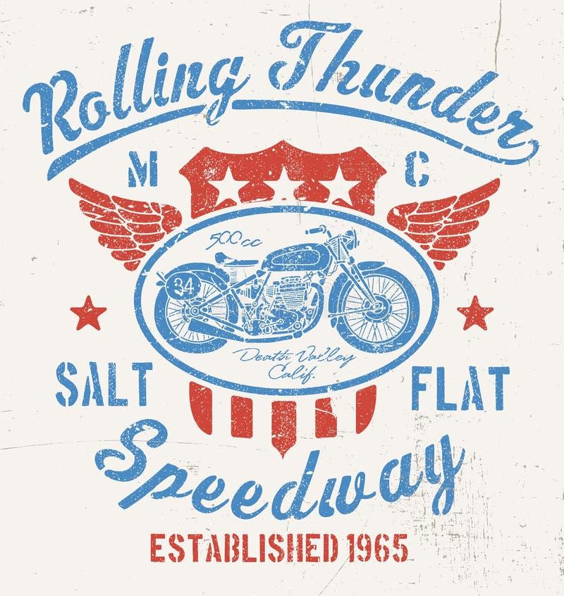 Toczna grzmotu rocznika motocyklu grafika royalty ilustracja