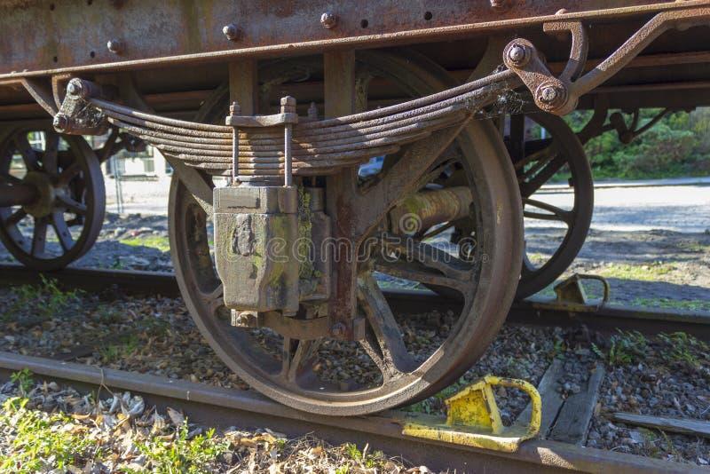 Toczy starą parową lokomotywę na poręczach z hamulcem obraz stock