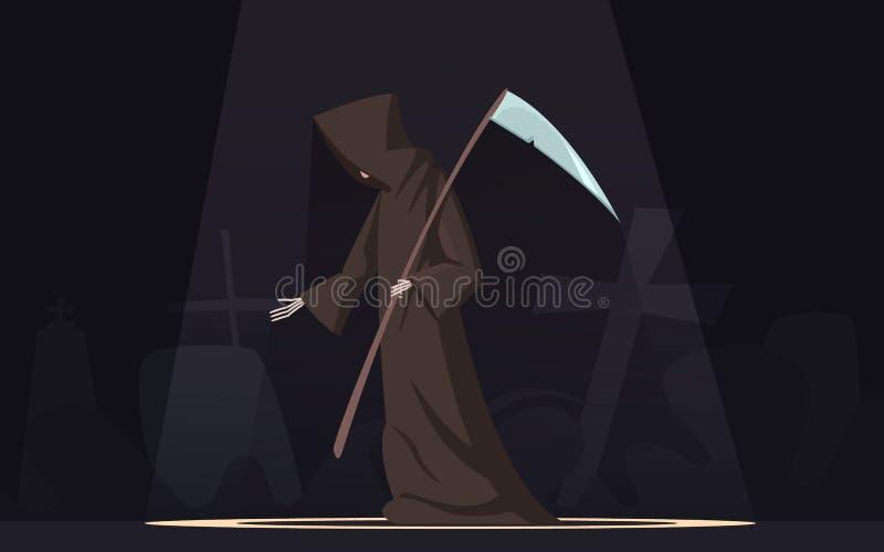 Tod mit Sensen-Symbol-Karikatur-Bild lizenzfreie abbildung