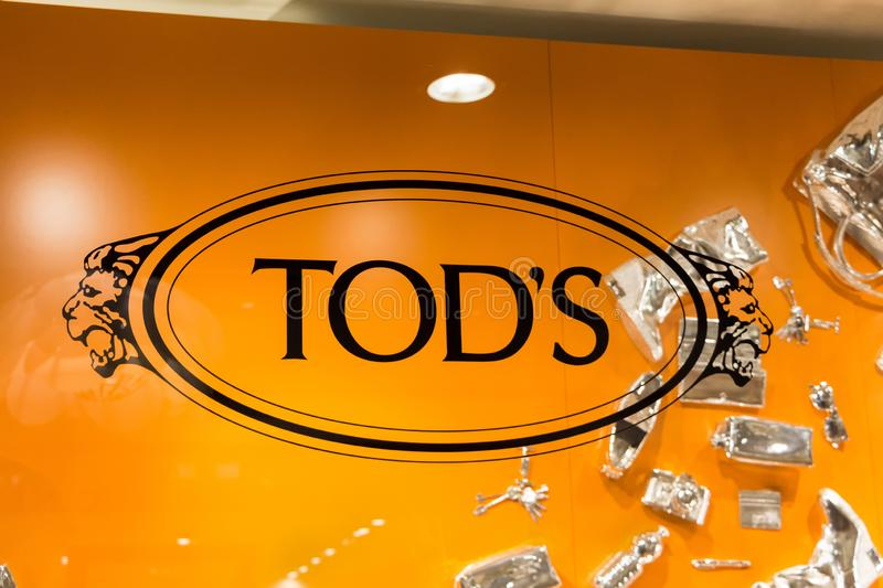 Tod`s logo on Tod`s shop stock photo