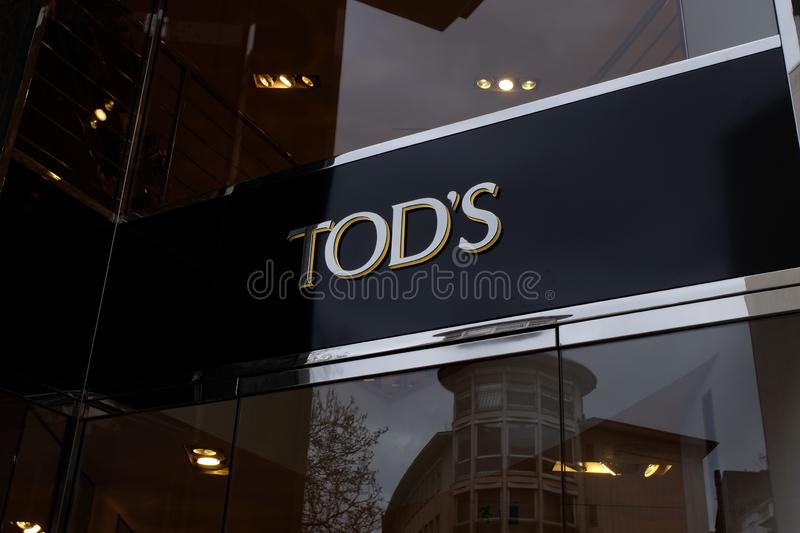 Tod`s Shop Logo in Frankfurt royalty free stock images