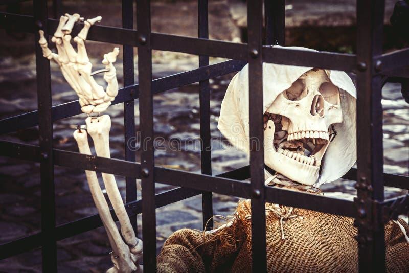 tod Skeleton Gefangener tot stockbilder