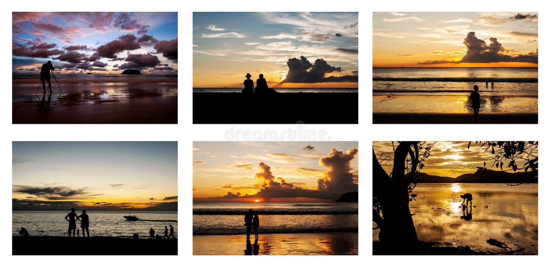 Toda a coleção dos povos da silhueta no crepúsculo foto de stock