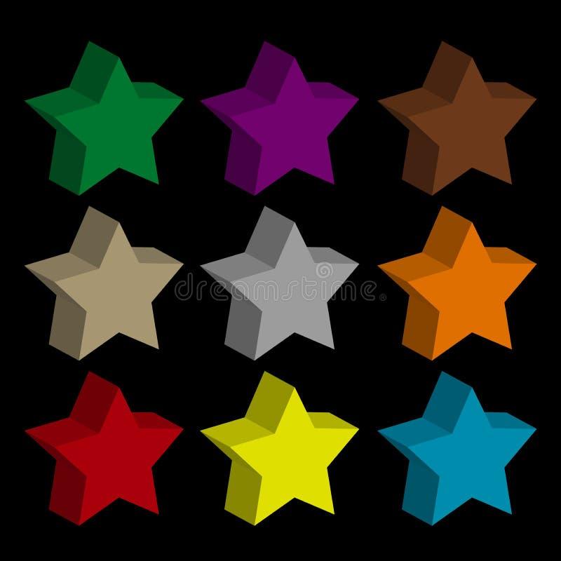 Toda a cor de estrela com fundo escuro ilustração royalty free