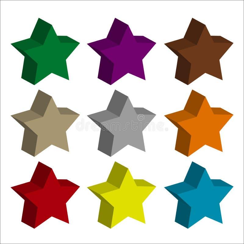 Toda a cor do ícone da estrela com fundo claro ilustração do vetor