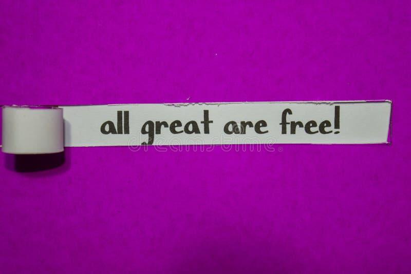 Toda grande esteja livre! , Conceito da inspiração, da motivação e do negócio no papel rasgado roxo fotografia de stock
