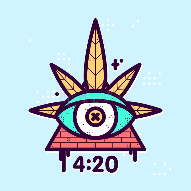 Toda a ilustração de vista do moderno do vetor do triângulo da folha do cannabis do olho ilustração royalty free
