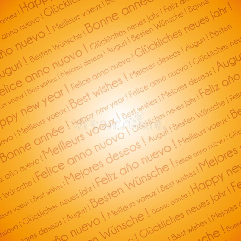 Toda la capa del texto de la Feliz Año Nuevo de las idiomas en fondo festivo de oro stock de ilustración