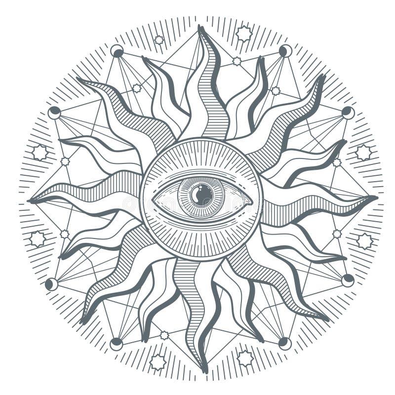 Toda la muestra de la francmasonería del vector del orden mundial del illuminati del ojo que ve nueva ilustración del vector