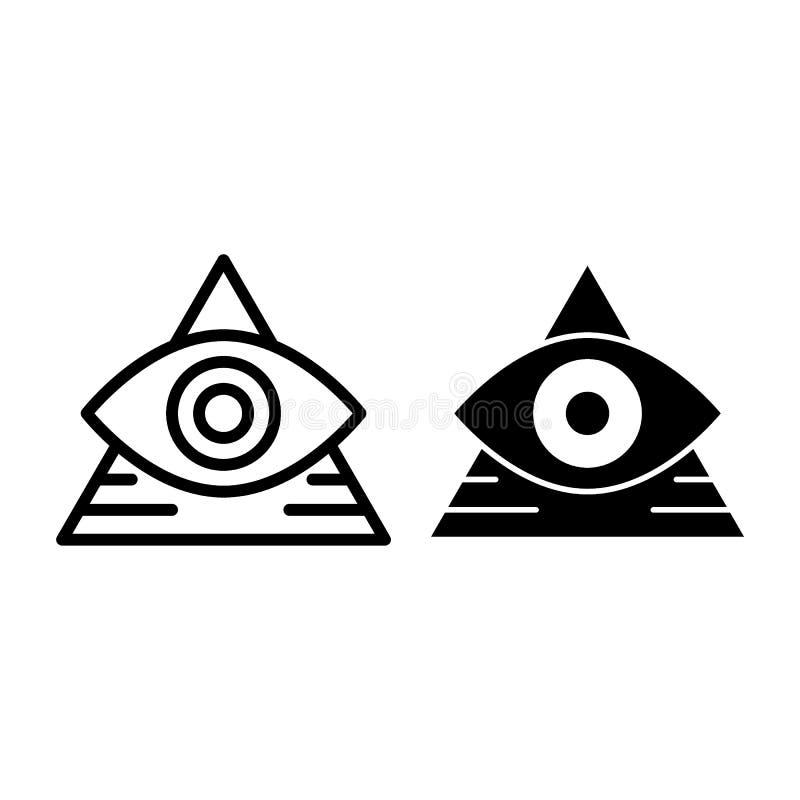 Toda a linha do olho e ícone de vista do glyph Pirâmide com a ilustração do vetor do olho isolada no branco Esboço do triângulo e ilustração do vetor