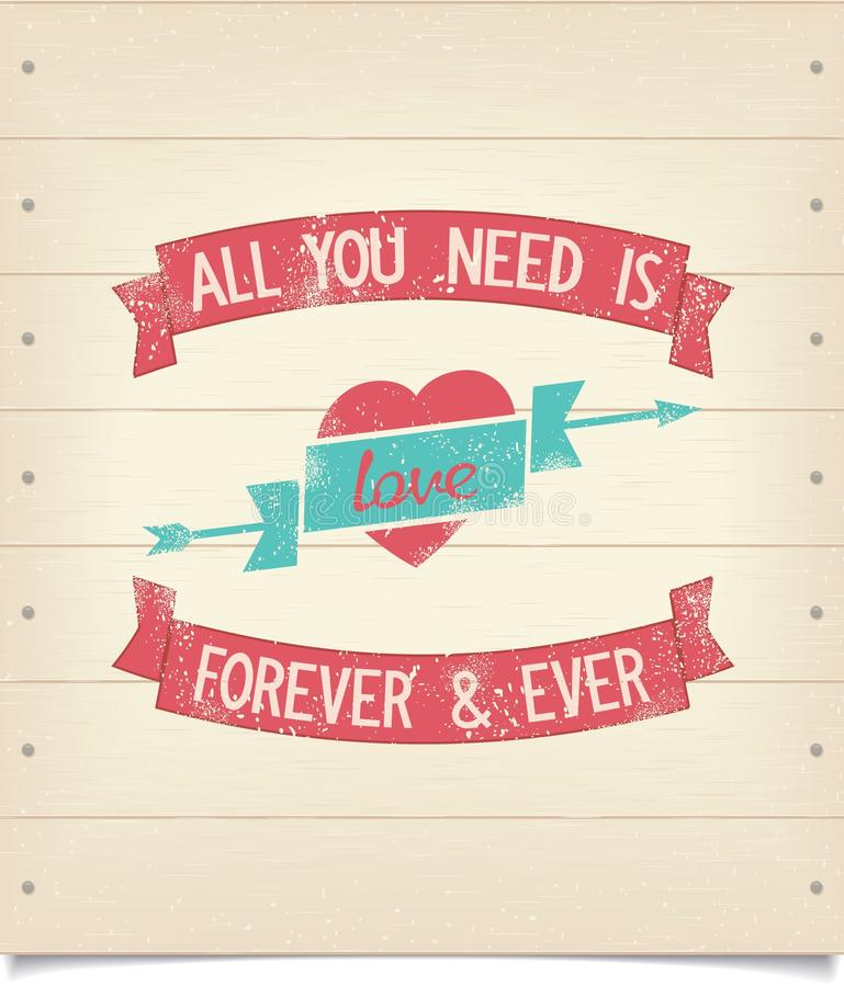 Toda lo que usted necesita es frase del amor en el letrero de madera stock de ilustración