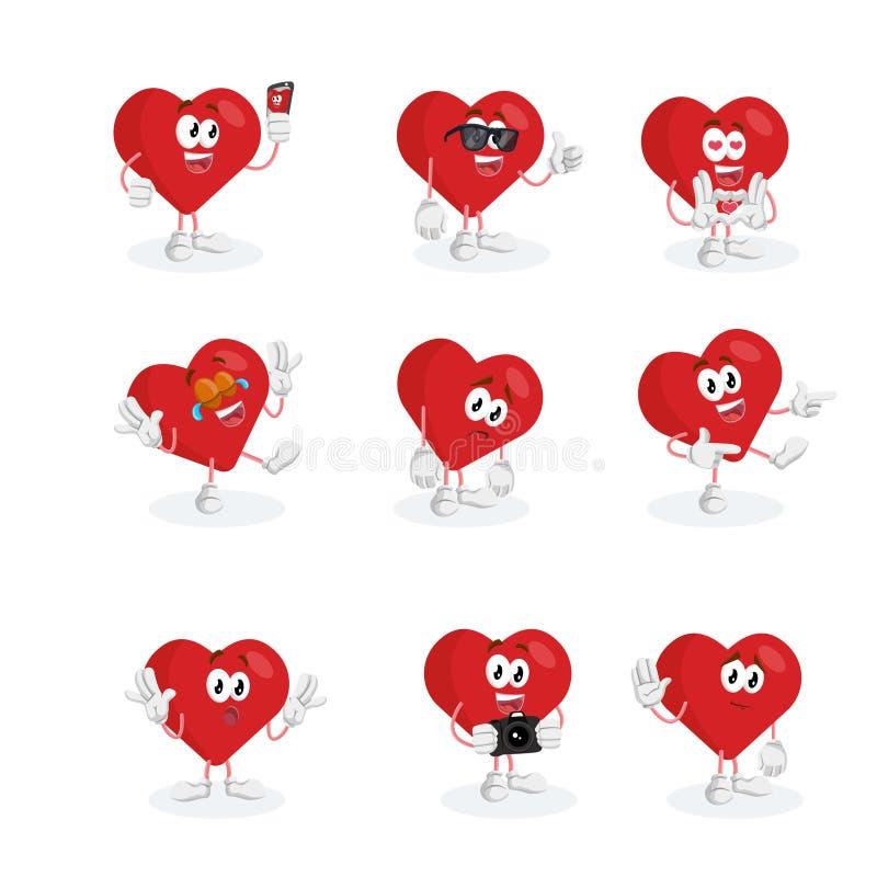 Toda a mascote de Valentine Logo do grupo ilustração stock
