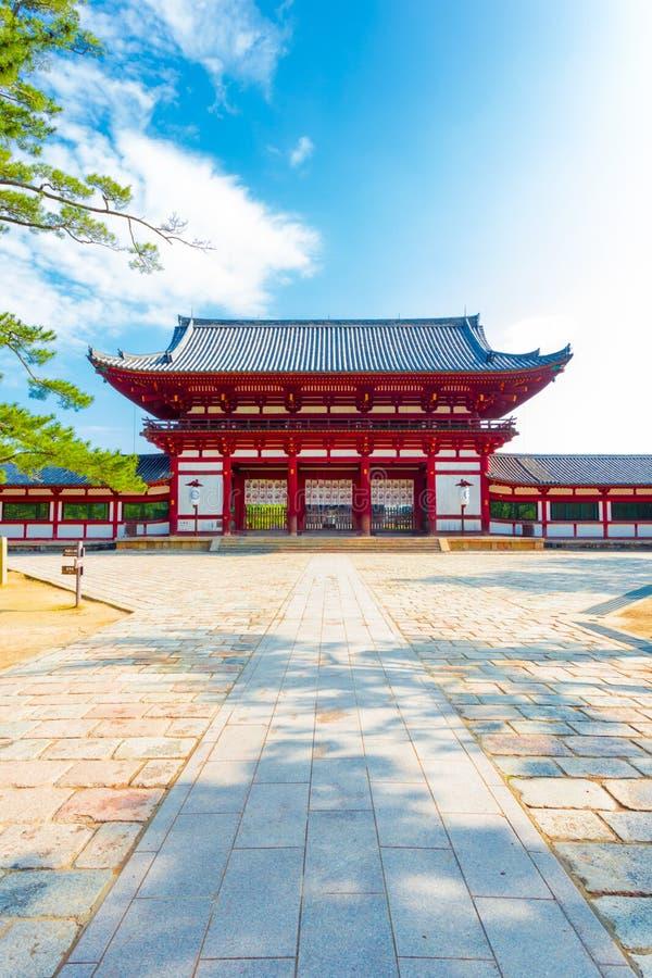 Todai-Ji bramy Świątynnego Czerwonego przodu Centrowany wejście V obrazy royalty free