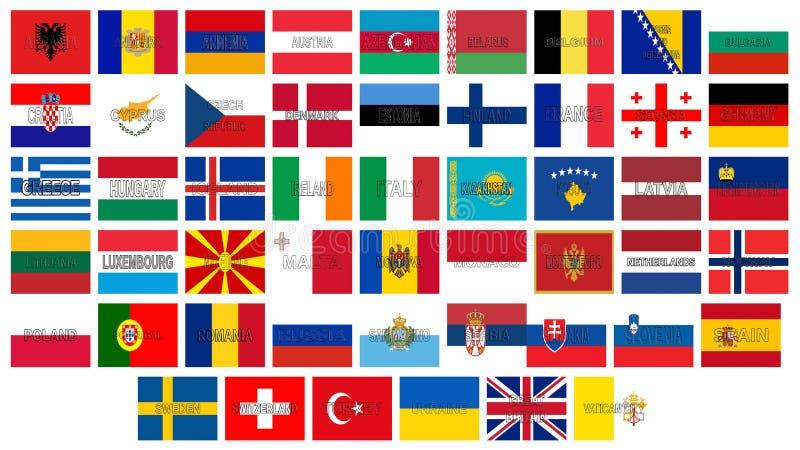 Todas as bandeiras de Europa ilustração do vetor