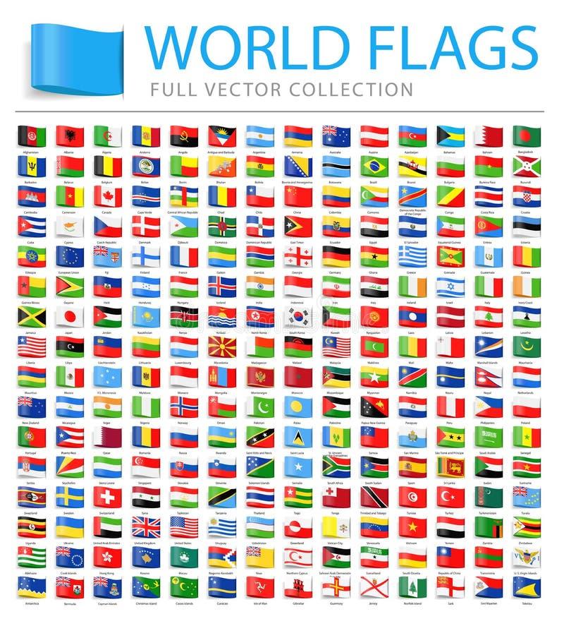 Todas as bandeiras do mundo - lista adicional nova de países e de territórios - ícones lisos da etiqueta do vetor ilustração stock
