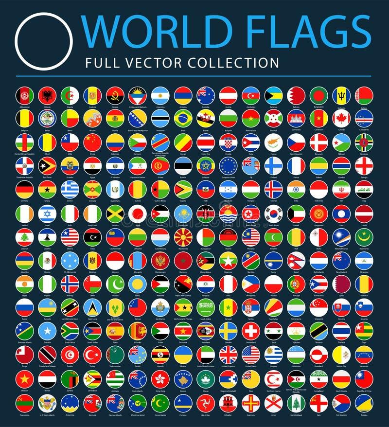 Todas as bandeiras do mundo no fundo preto - lista adicional nova de países e de territórios - ícones lisos redondos do vetor ilustração royalty free