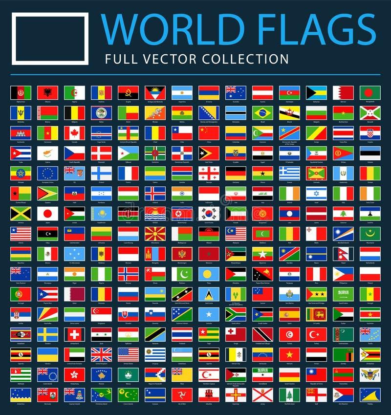 Todas as bandeiras do mundo no fundo preto - lista adicional nova de países e de territórios - ícones lisos do retângulo do vetor ilustração do vetor