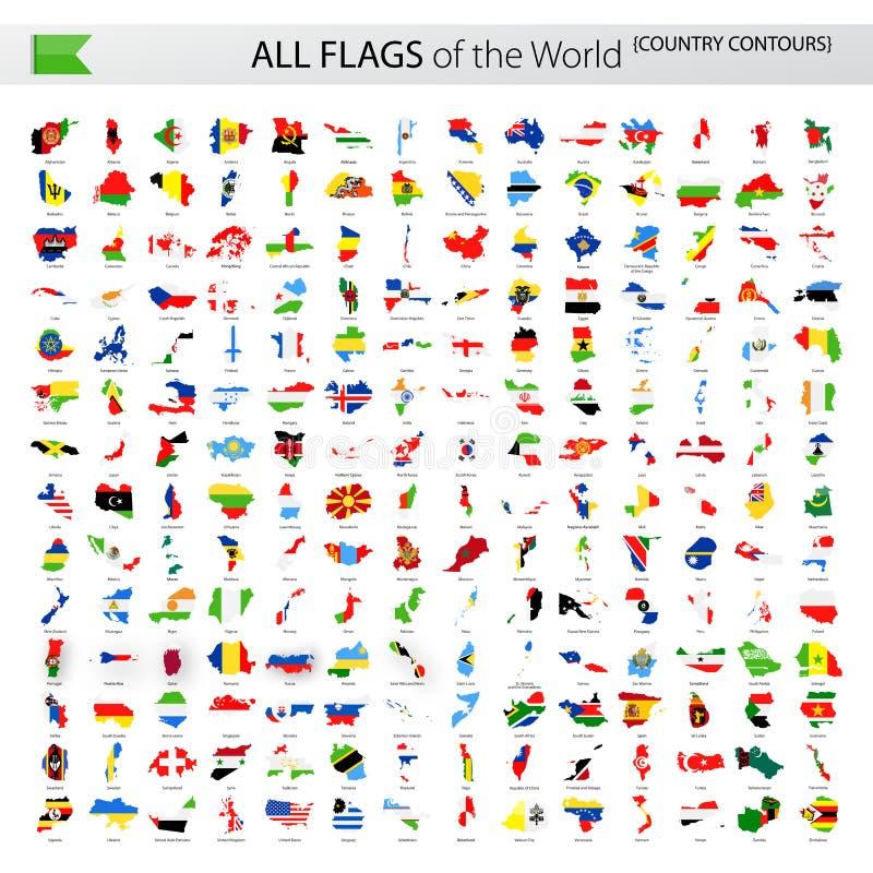 Todas as bandeiras do vetor do mundo - contornos do país ilustração stock