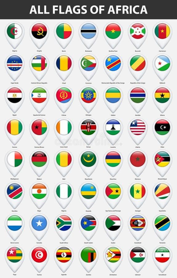 Todas as bandeiras dos países de África Estilo lustroso do ponteiro do mapa do Pin ilustração stock