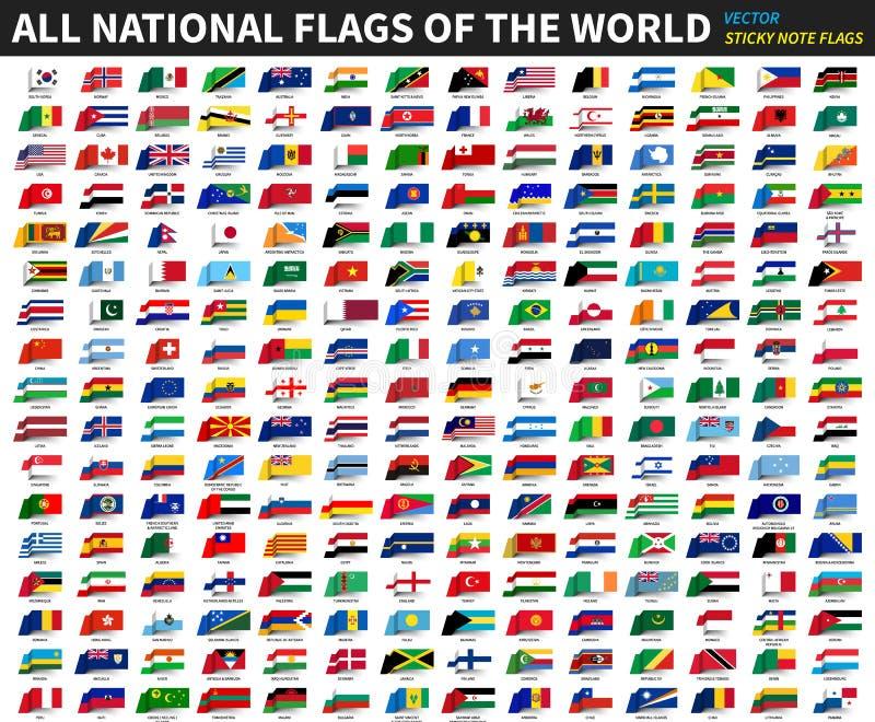 Todas as bandeiras nacionais oficiais do mundo Projeto pegajoso da nota Vetor ilustração royalty free